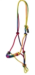 "Braided Nylon Rope Halter, 3/8"" Diameter, Average Horse Size - RAINBOW"