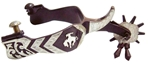 Ant Brn Spur Mens 2-1/4 in. Shank 1-1/4 in. Band Bronc Motif