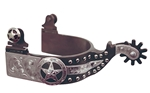 Ant Brn Spur Mens 1-1/4 in. Band 1-15/16 in. Shank Star Motif